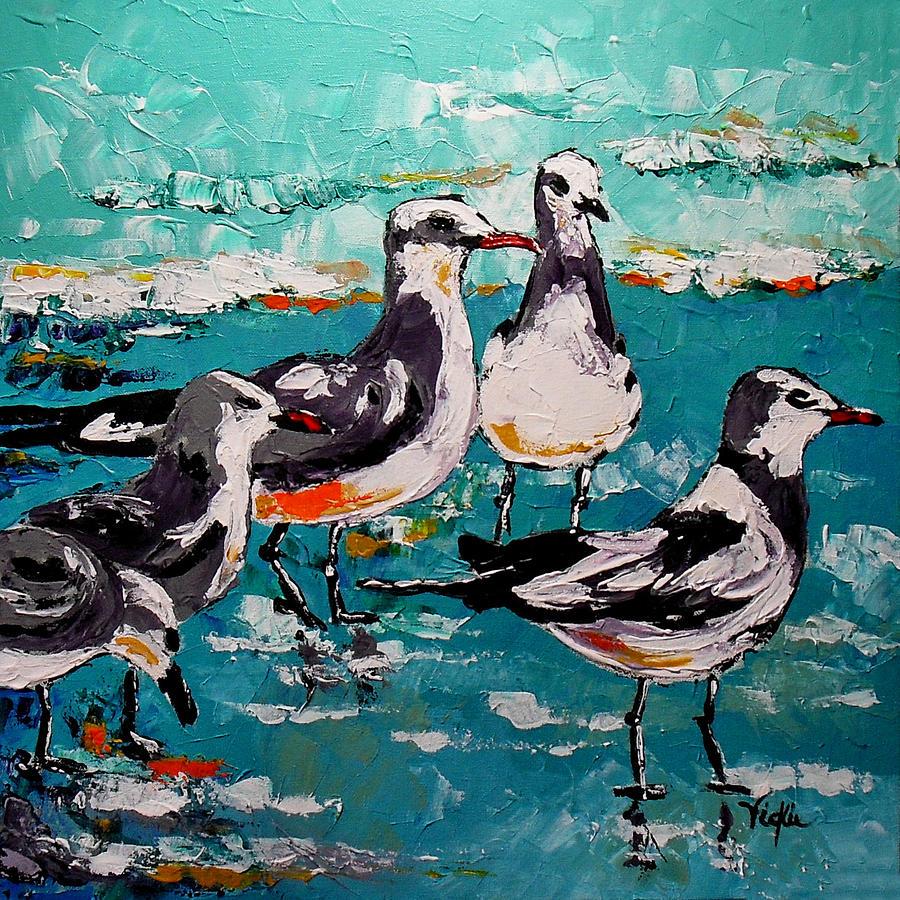 Gulls Painting - Morning Social by Vickie Warner
