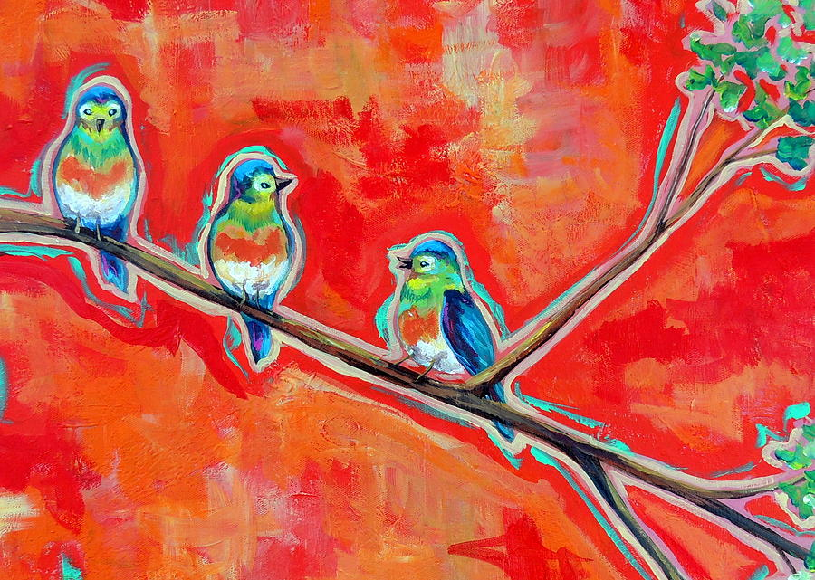 Little Birds Painting - Morning Song by Dawn Gray Moraga