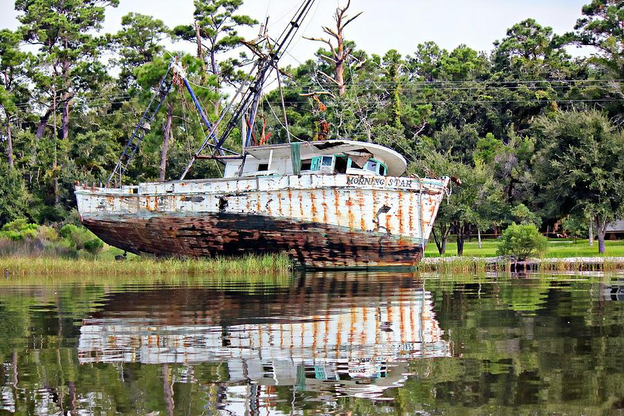 Grounded Shrimp Boat Photograph - Morning Star by Lynn Jordan