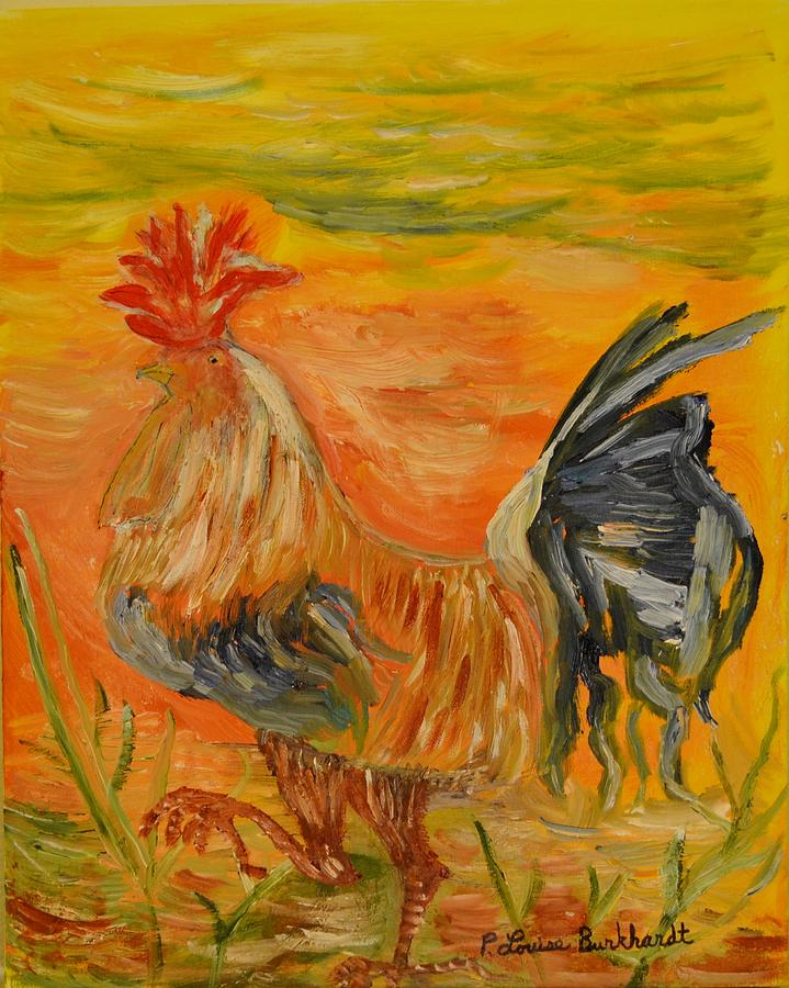 Chicken Painting - Morning Stroll by Louise Burkhardt
