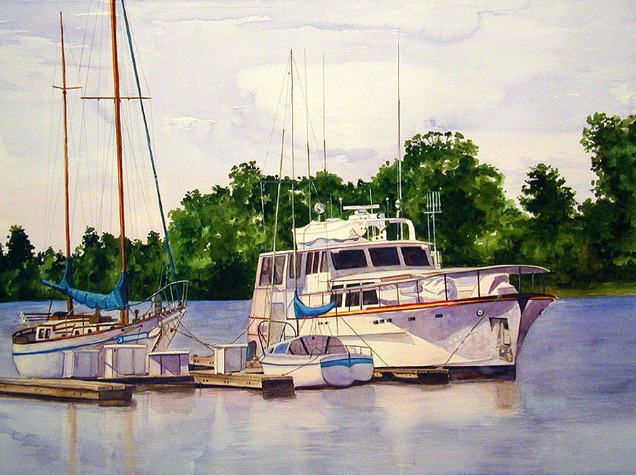 Sail Boats Painting - Morning Tranquility by Terri  Meyer