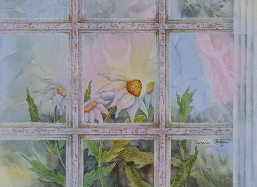 Echinacea Painting - Morning View by Heather Gallup