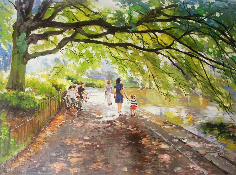 Morning Walk On Stephens Green Dublin Painting