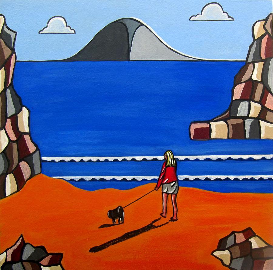 Beach Scenes  Painting - Morning Walk by Sandra Marie Adams