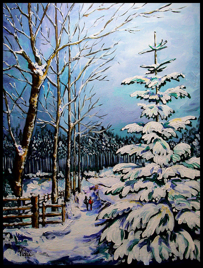 Winter Painting - Morning Walk Together by Vickie Warner