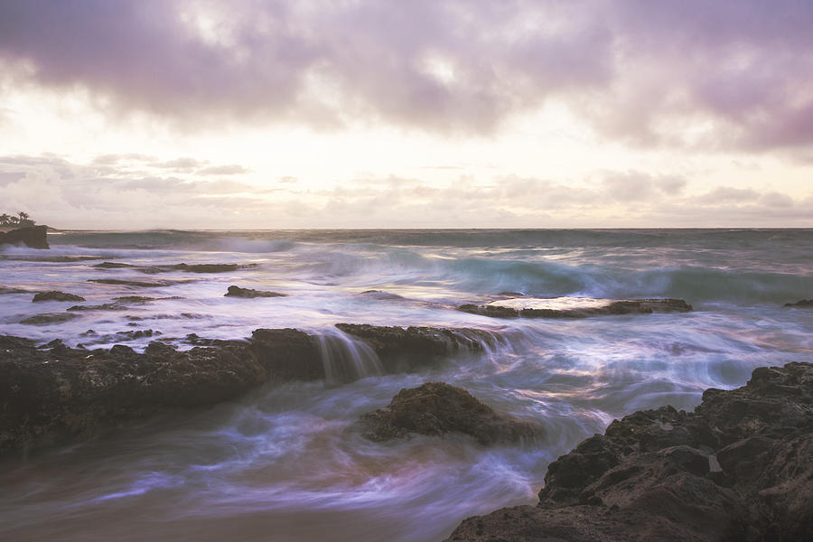 Sandy Beach Park Sunrise 9 Lava Rock Seascape Photograph - Morning Waves by Brian Harig