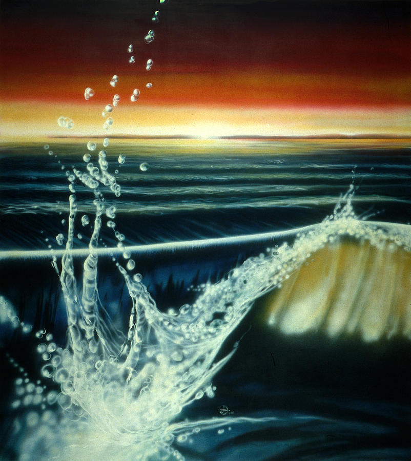 Water Painting - Morning Waves by Lynette Yencho