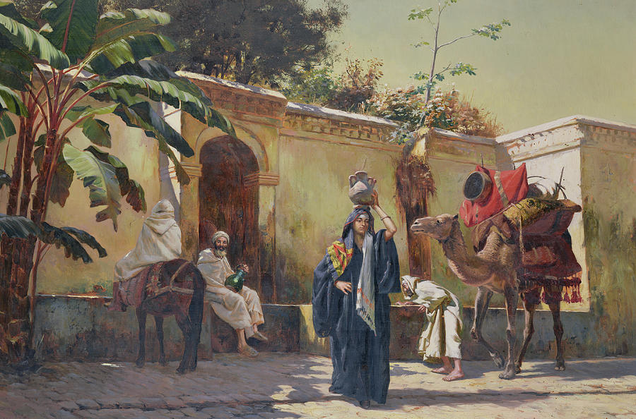 Woman Painting - Moroccan Scene by Rudolphe Ernst