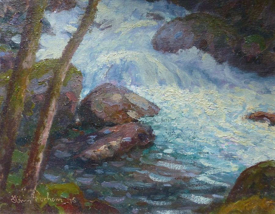 Streams Painting - Morraine Ck. Fiordland Nz. by Terry Perham