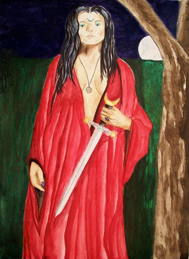 Goddess Painting - Morrigan by Carrie Viscome Skinner