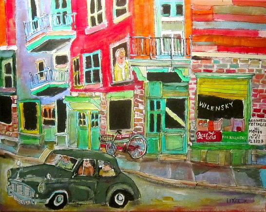 Morris Minor 1950 Painting - Morris At Wilensky by Michael Litvack