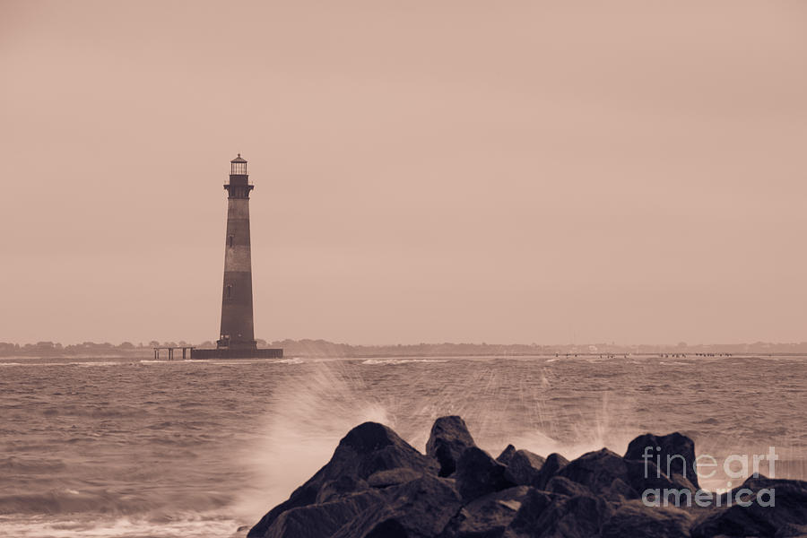 Morris Island Lighthouse In Sepia Photograph