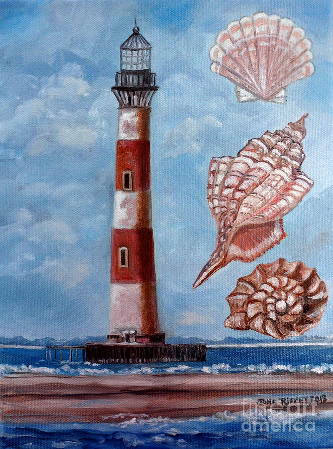 Sea Shells Painting - Morris Island Lighthouse by Julie Brugh Riffey