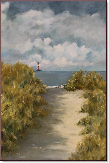 Folly Beach Painting - Morris Island Lighthouse by Peggy Ellis