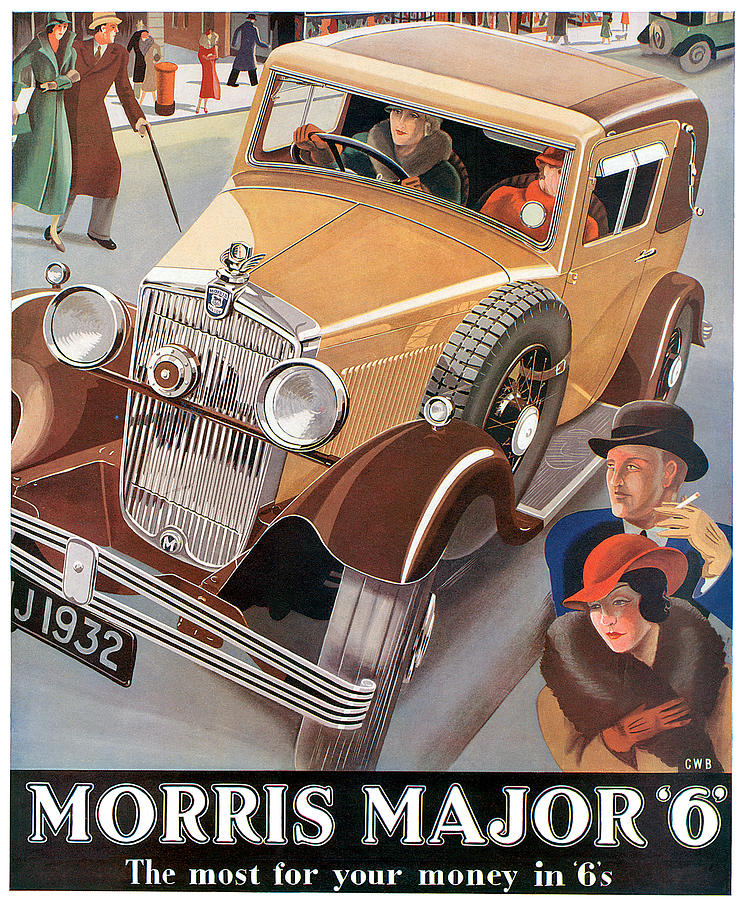 Morris major 6 vintage car poster drawing by world art for Mercedes benz wall posters