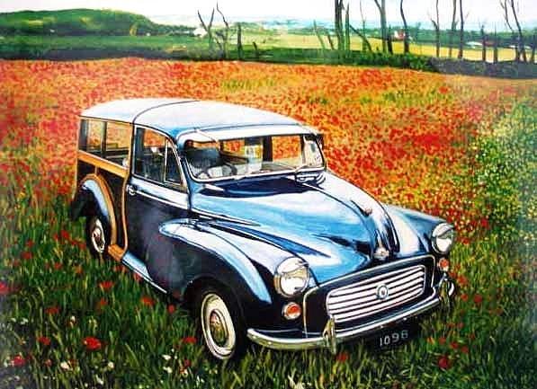 Morris Minor. Painting by Rob Sweeney