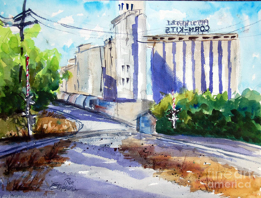Grain Elevator Painting - Morrisons Milling Co  Denton Tx by Ron Stephens