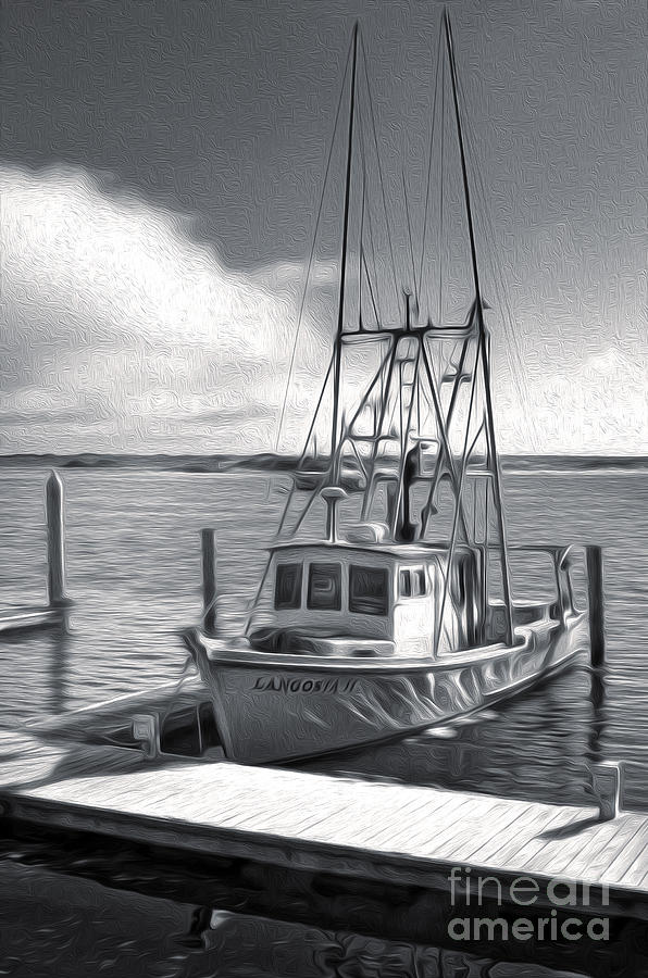 Morro Bar Painting - Morro Bay Fishing Boat In Duo-tone by Gregory Dyer