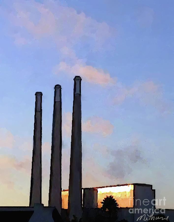 Smoke Stacks Painting - Morro Bay Power Plant by Methune Hively