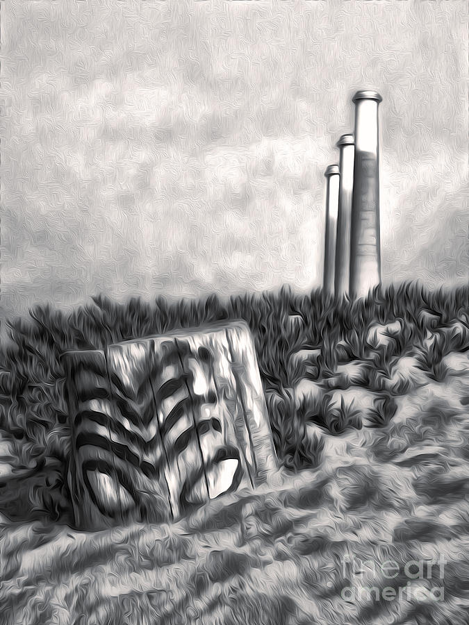 Morro Bay Painting - Morro Bay Tiki Head In Duotone by Gregory Dyer