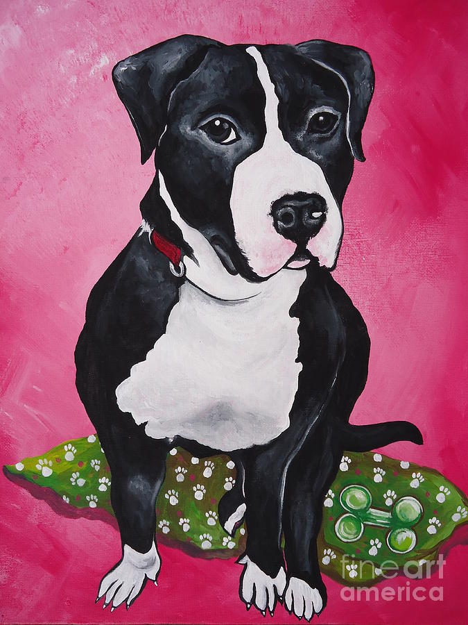 Pittbull Painting - Morty by Leslie Manley