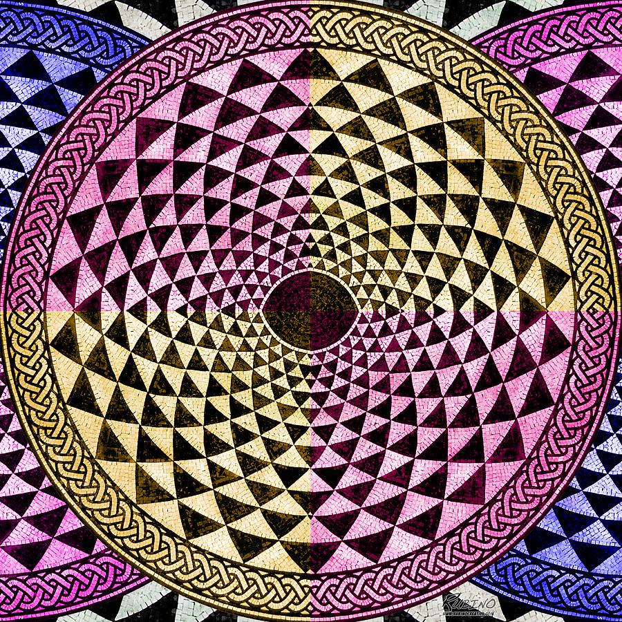 Abstract Painting - Mosaic Circle Symmetric  by Tony Rubino