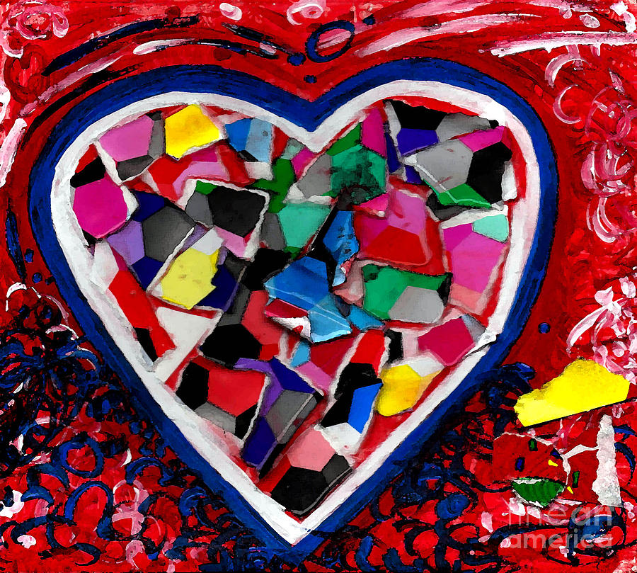 Heart Painting - Mosaic Heart by Genevieve Esson