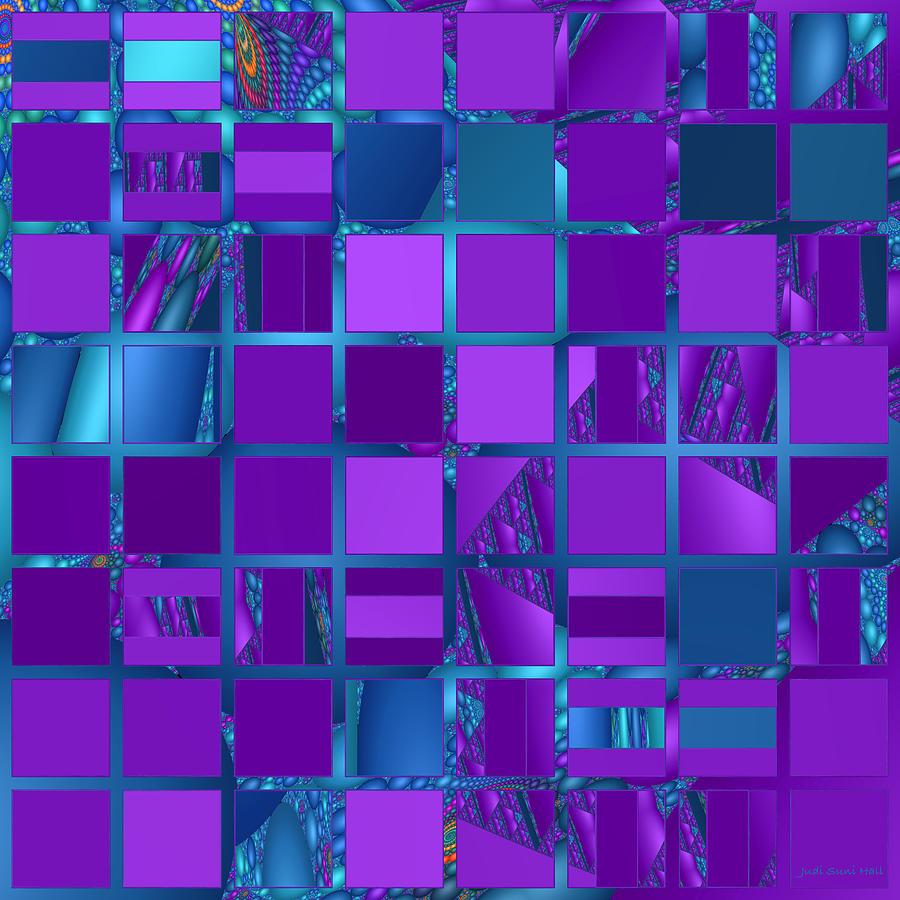 Mosaic Digital Art - Mosaic In Purple And Teal by Judi Suni Hall