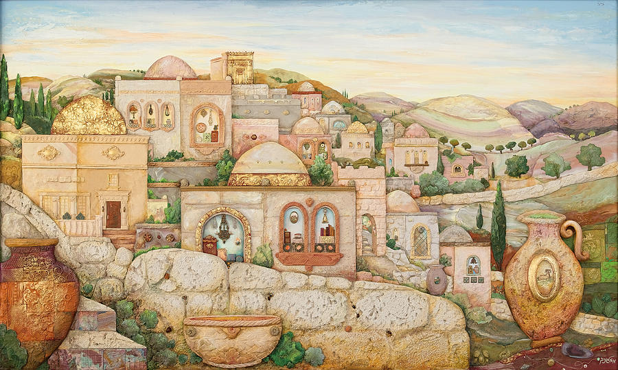 Mosaic Jerusalem Painting By Michoel Muchnik