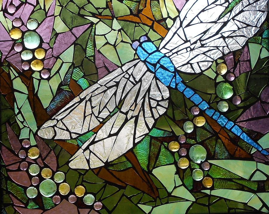 Mosaic Stained Glass Blue Dragonfly 50 50 Glass Art By