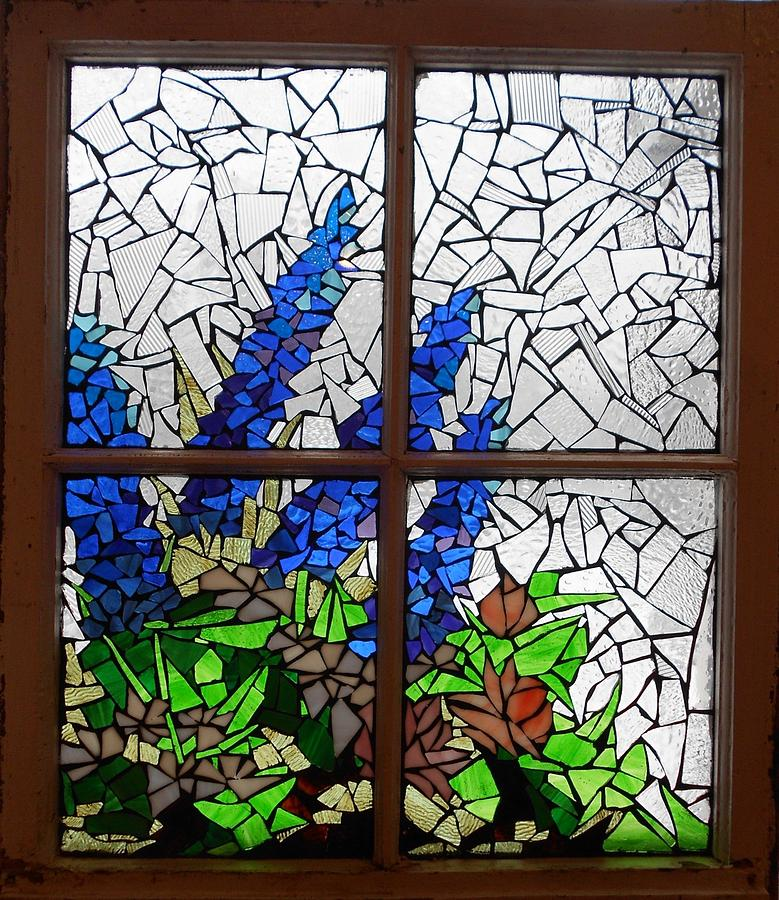 Mosaic Stained Glass Delphiniums In The Window Glass Art