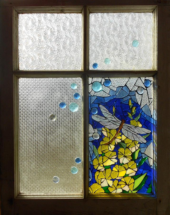 Mosaic Glass Art - Mosaic Stained Glass - Dragonfly In The Window by Catherine Van Der Woerd