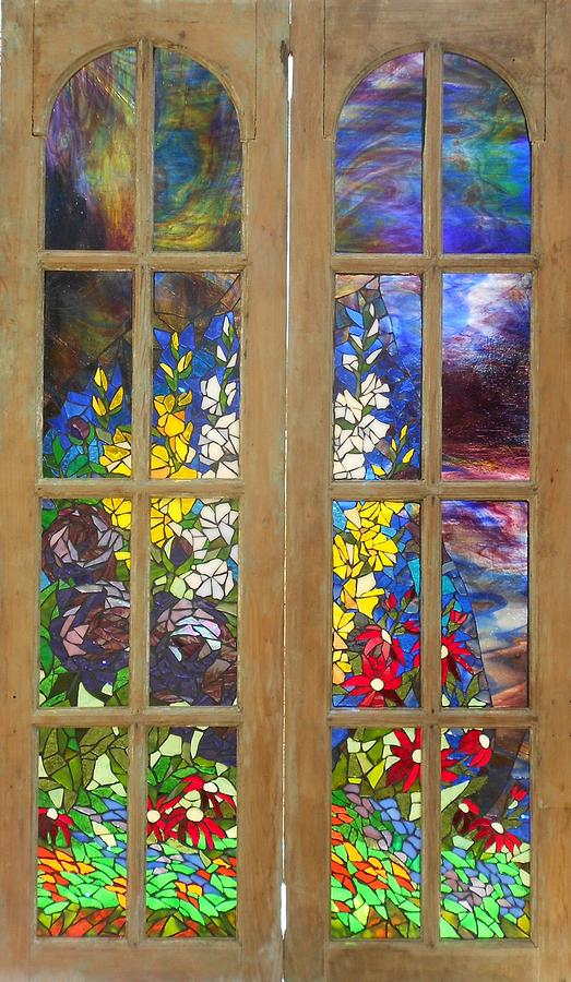 Flowers Glass Art   Mosaic Stained Glass   Flower Garden By Catherine Van  Der Woerd