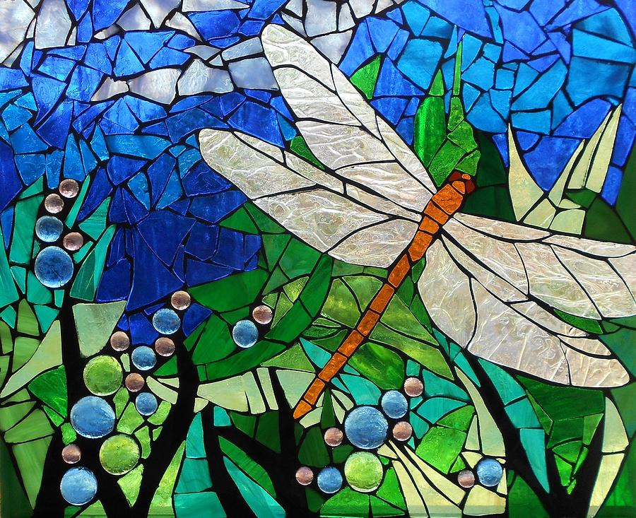 Mosaic Stained Glass Golden Brown Dragonfly Glass Art By