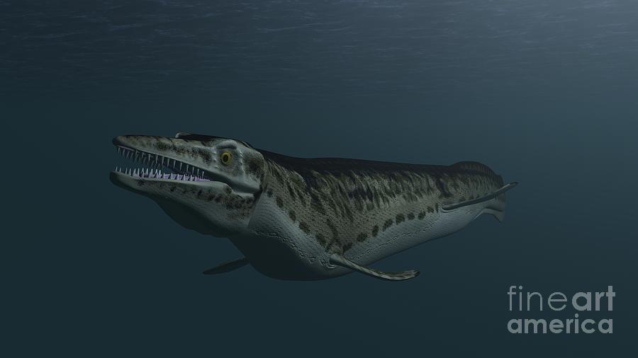 Dinosaur Digital Art - Mosasaur Swimming In Prehistoric Waters by Kostyantyn Ivanyshen