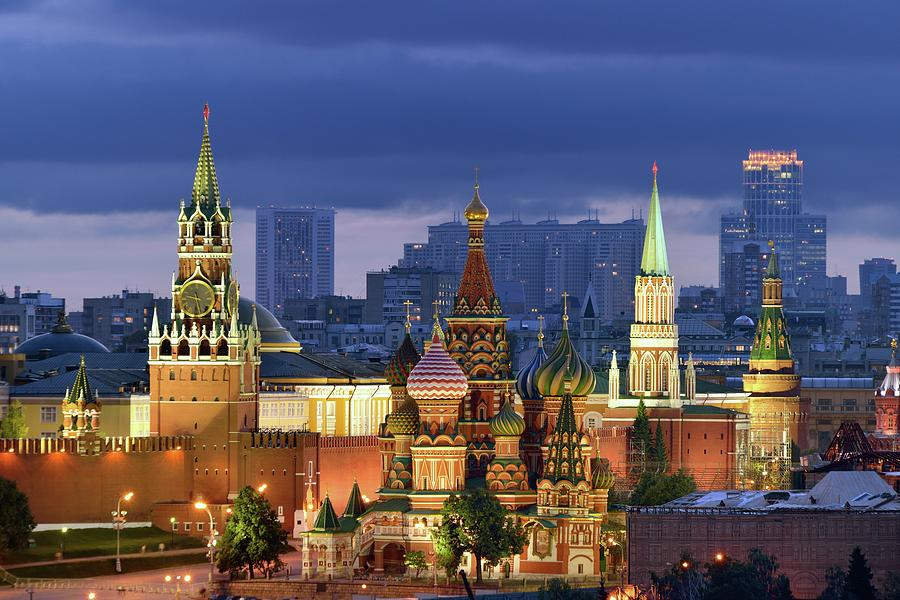 Tranquility Photograph - Moscow Kremlin And St Basil Cathedral by Vladimir Zakharov
