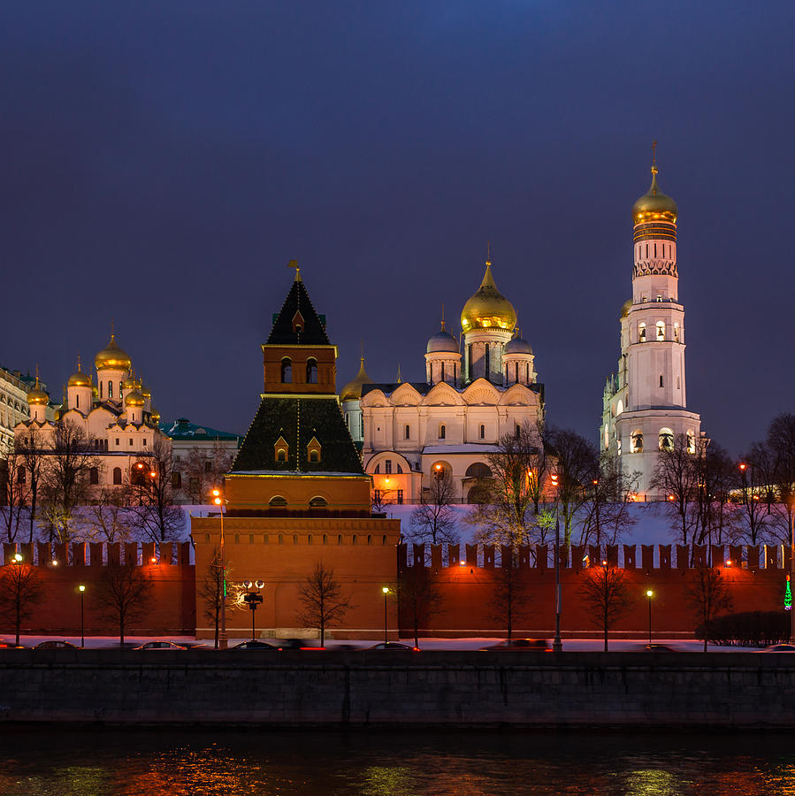 Annunciation Photograph - Moscow Kremlin Cathedrals At Night - Square by Alexander Senin