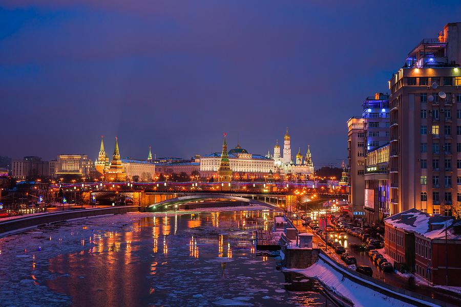 Moscow Photograph - Moscow Kremlin Illuminated by Alexander Senin