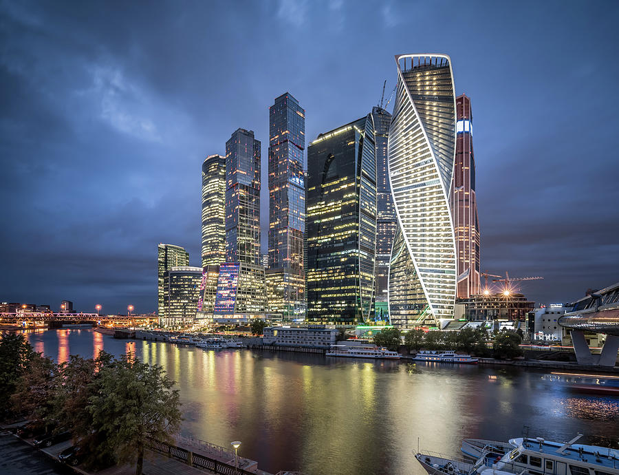 Moscow Skyline At Night Photograph by Yongyuan Dai