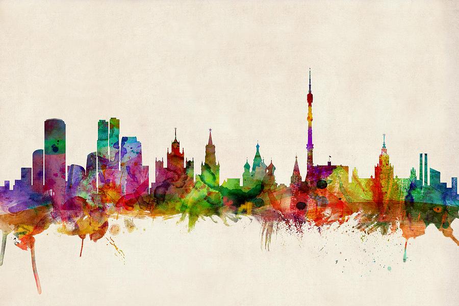 Watercolour Digital Art - Moscow Skyline by Michael Tompsett
