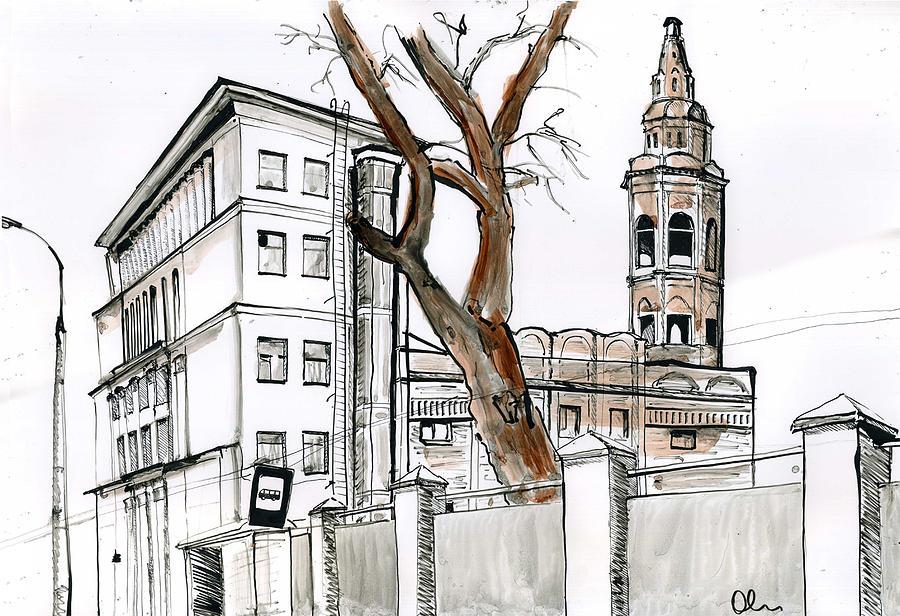 Moscow Drawing - Moscow. Soyuzmultfilm Animation Studio Building. by Lelia Sorokina