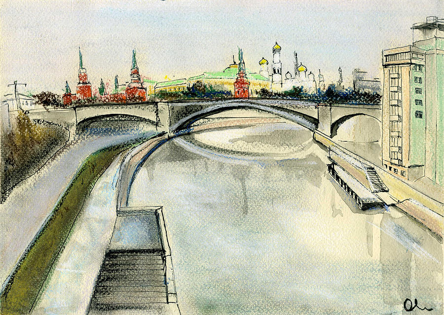 Moscow Drawing - Moscow. View From Patriarchy Bridge. by Lelia Sorokina