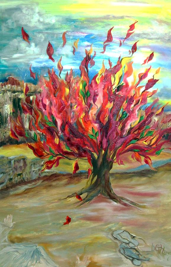 Moses And The Burning Bush Painting by Deana Harvey