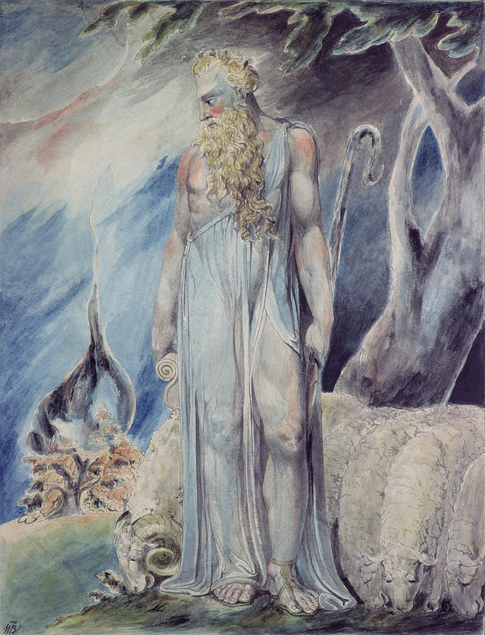 Moses And The Burning Bush Painting by William Blake