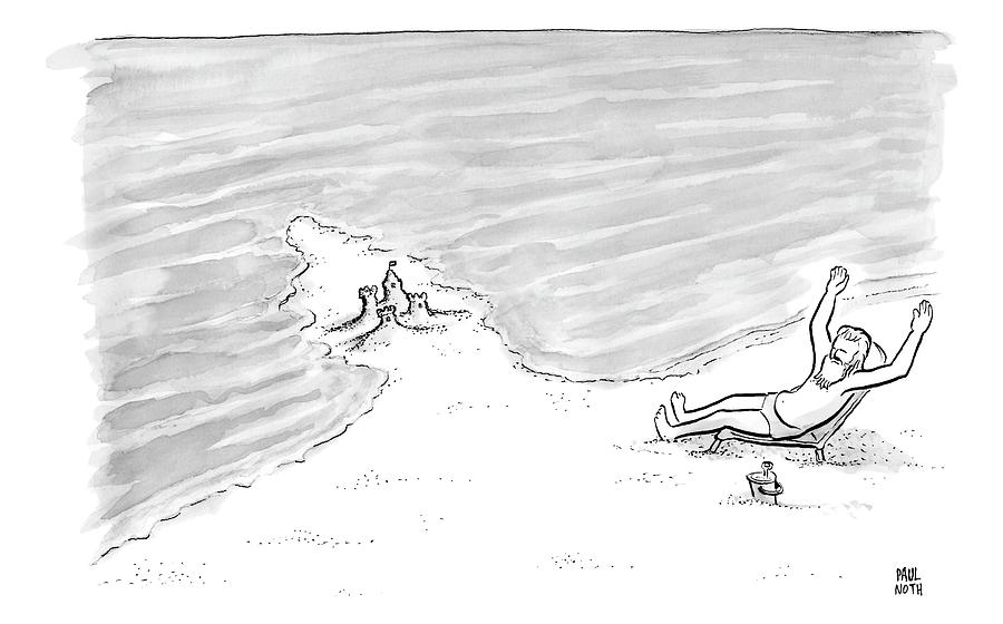 Moses Is Laying On A Beach Chair Parting The Sea Drawing by Paul Noth