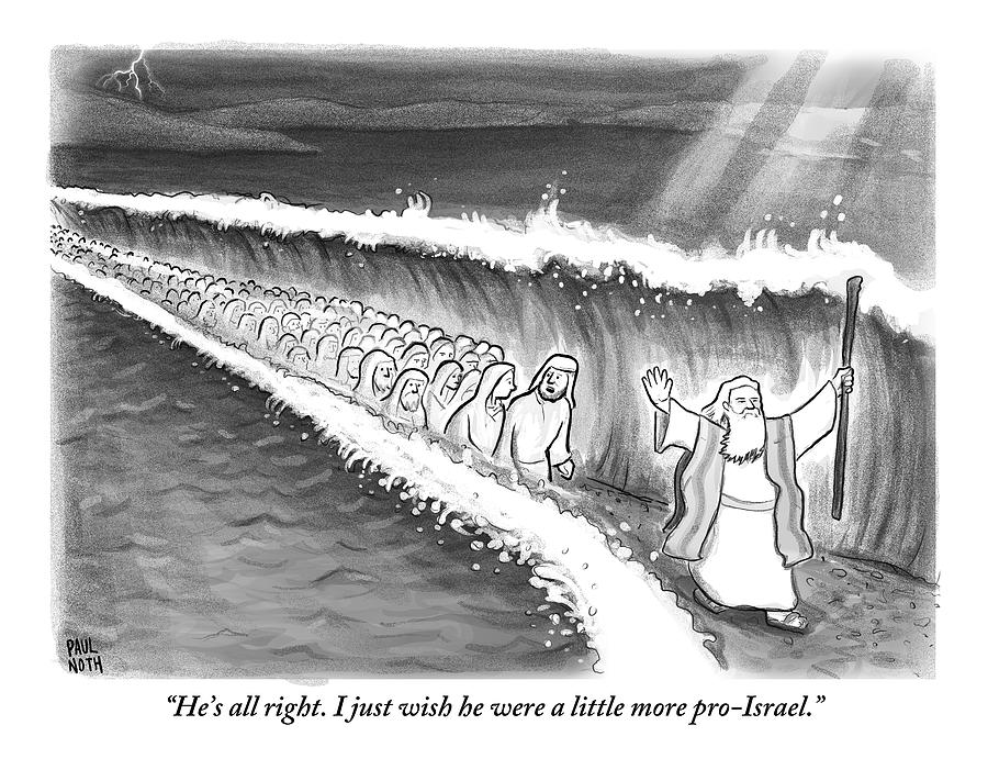 Moses Parting The Sea Drawing by Paul Noth