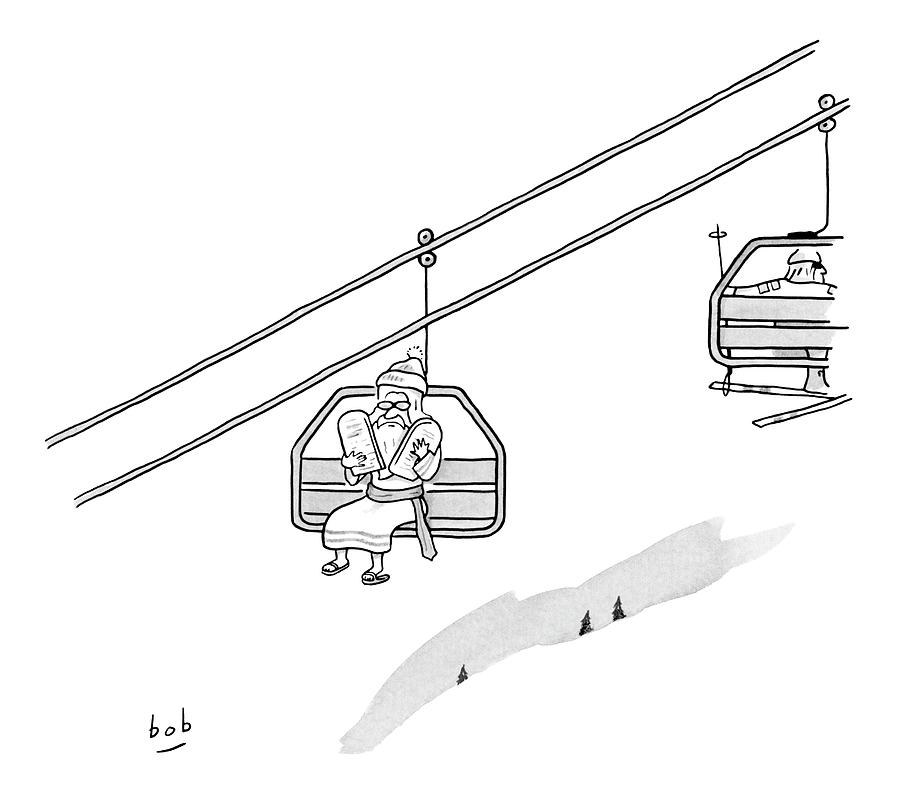 Moses Travels Down A Mountain On A Ski Lift Drawing By Bob Eckstein