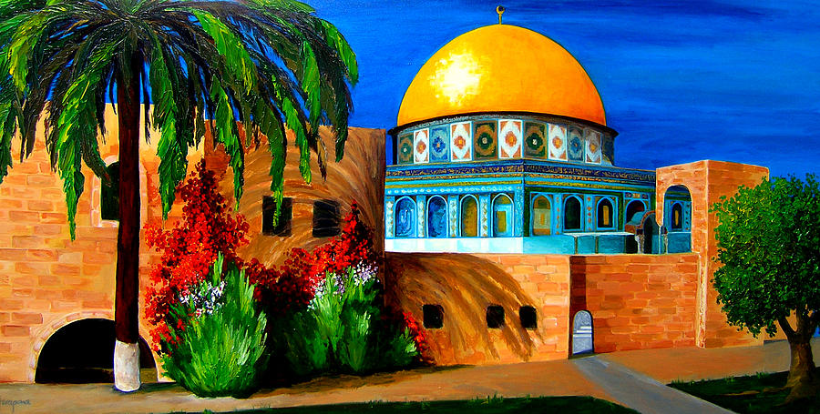 Architectural Painting - Mosque - Dome of the rock by Patricia Awapara