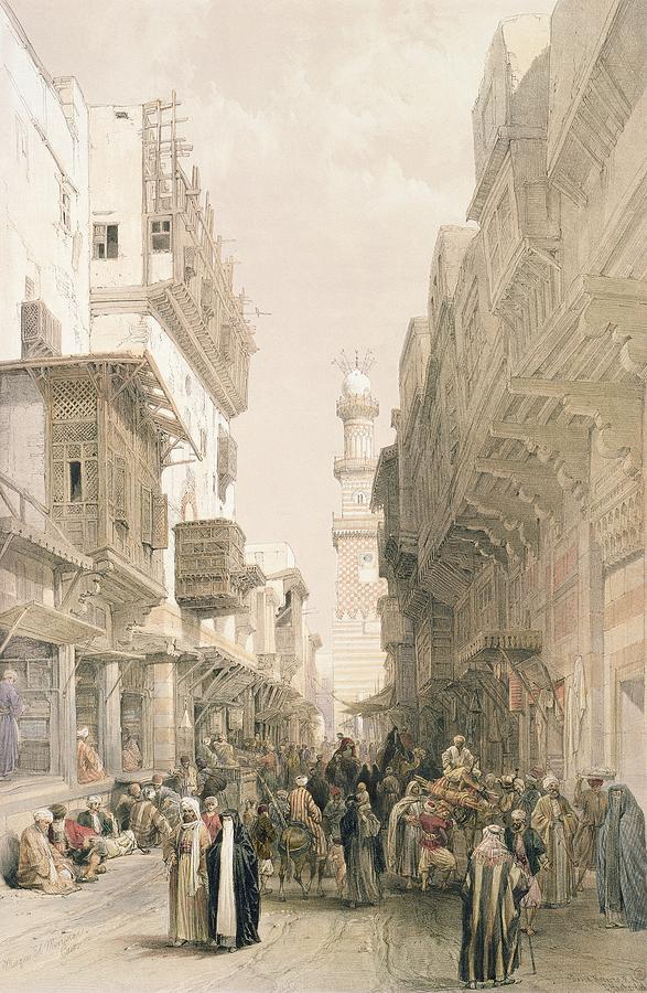 Street Painting - Mosque El Mooristan by David Roberts