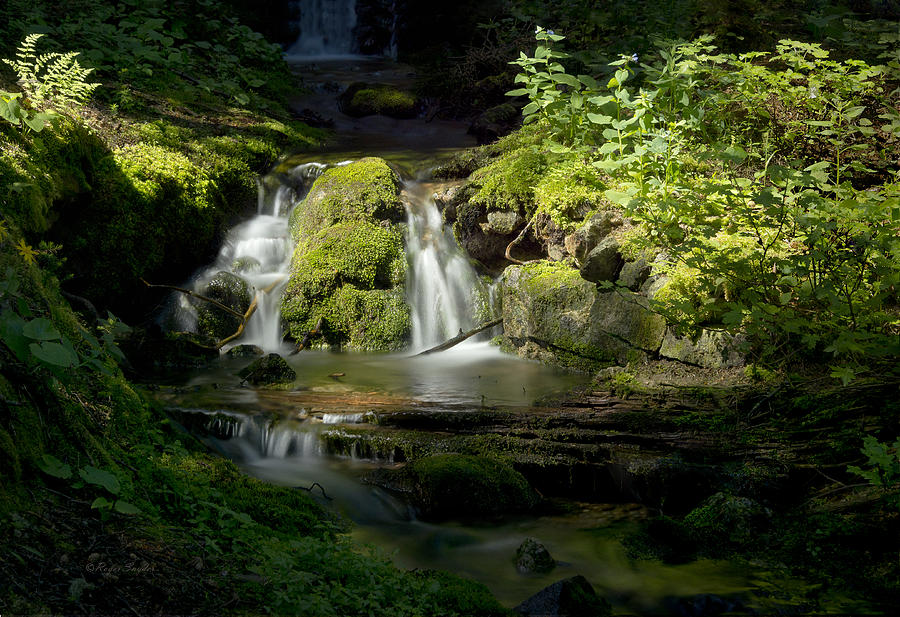 Beautiful Photograph - Mossy Rocks Waterfall 1 by Roger Snyder